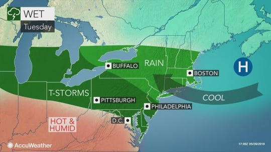 After a pleasant, sunny Memorial Day, Tuesday looks to deliver rain and cool temperatures