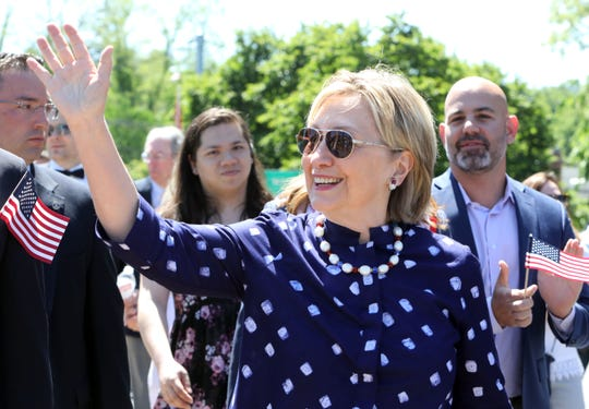Hillary Clinton, pictured in the Town of New Castle Memorial Day Parade on March 27, 2019.