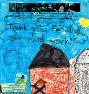 Bentley, 6, of Omro, was the age 6 and under winner for the Wisconsin Ag in the Classroom National Ag Day drawing contest.