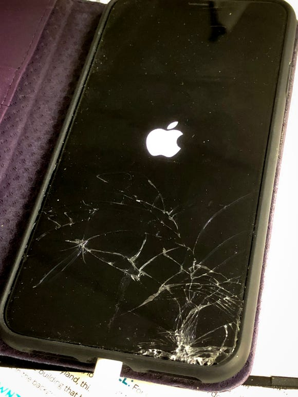 A cracked iPhone XS Max