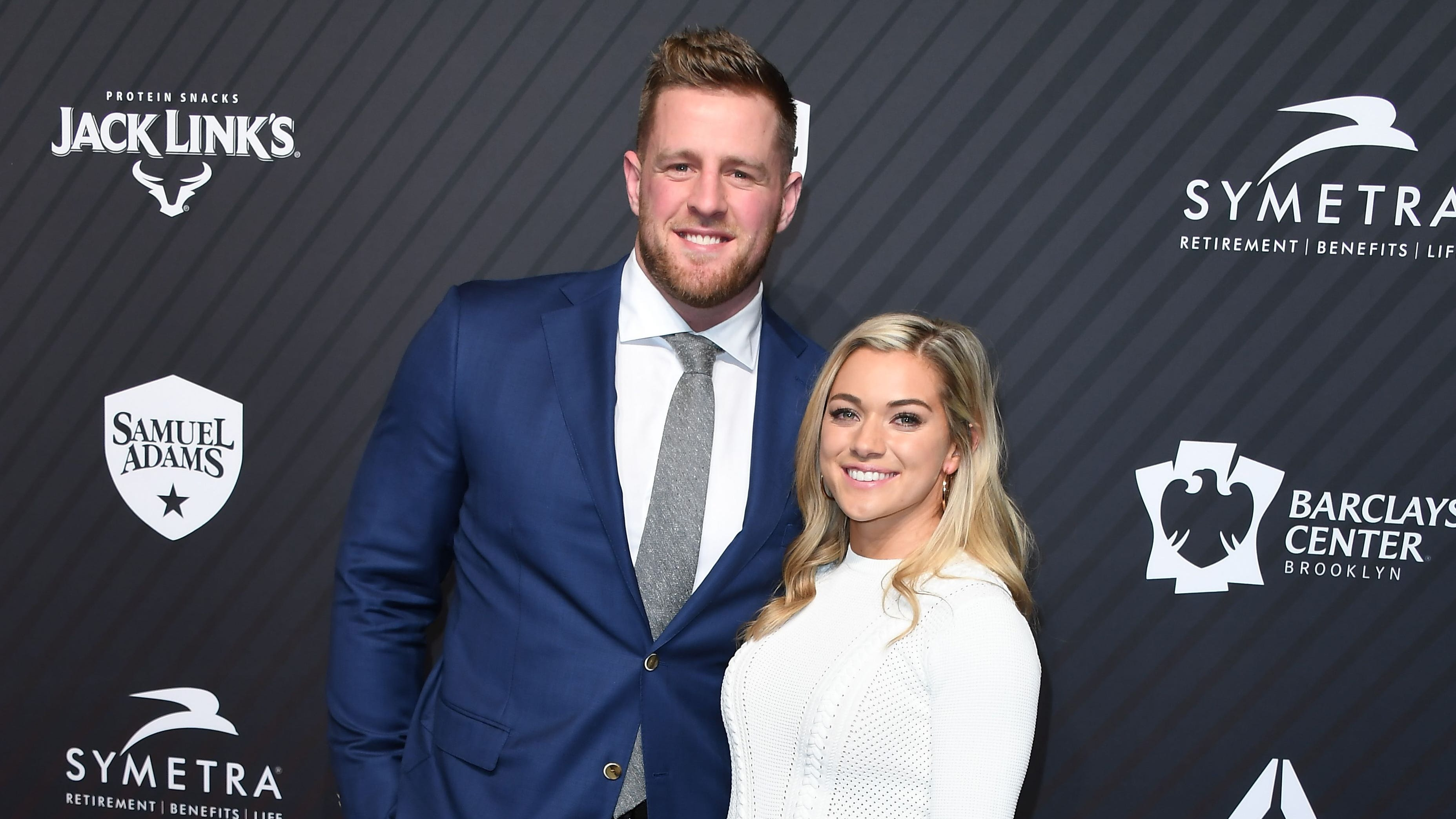 J. J. Watt and his girlfriend Kealia Ohai arrive for the 2017 Sports Illustrated Sportsperson of the Year Award Show.