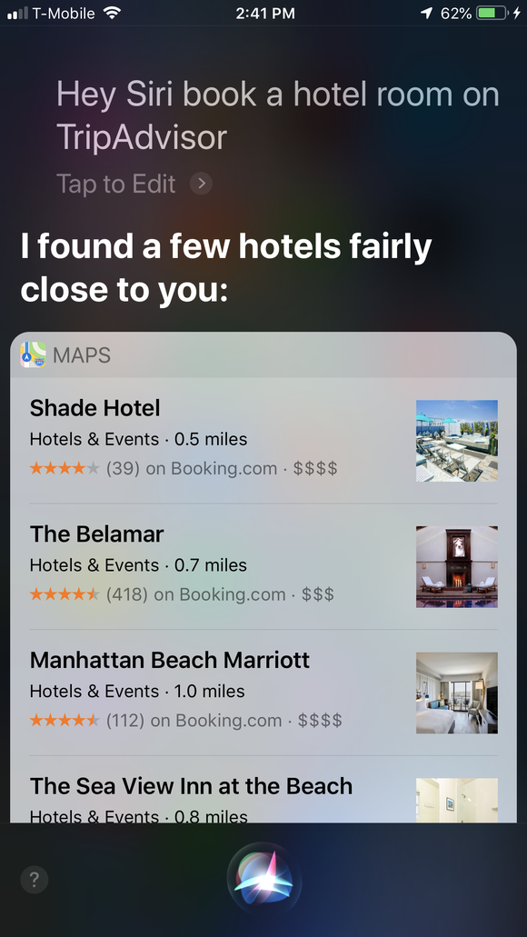 Trying to use Siri to book hotel on Trip Advisor