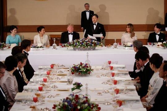 Japanese Emperor Naruhito speaks during a state banquet attended by President Donald Trump and first lady Melania Trump at the Imperial Palace May 27 in Tokyo.