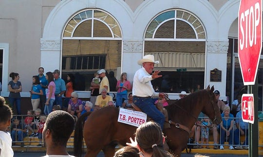 T. Berry Porter is the Grand Marshall of the Rodeo Parade in Leesville in 2010.