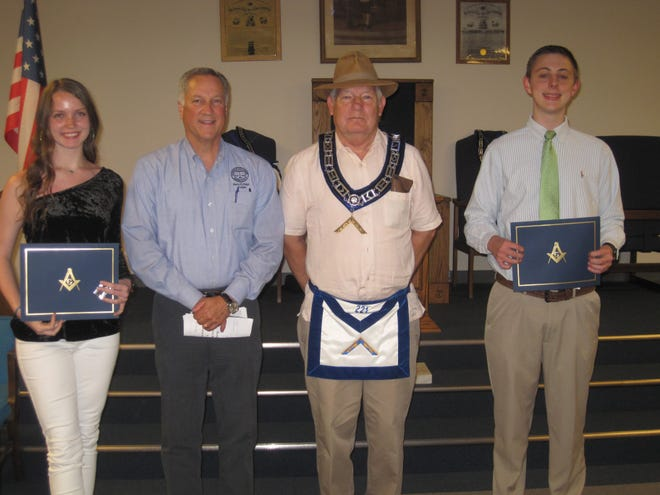 Solomon Lodge #221 F. & A. M. held its annual Honesty & Integrity Awards Night on May 23. Pictured from left are: Grace Roberts, Pineville High School;  Judge Gary Hays, City of Pineville; Worshipful Wade Ford  PM, Solomon Lodge #221;  And Jackson Neal, Pineville High School. Congratulations to these two fine young people and thanks to all that attended.