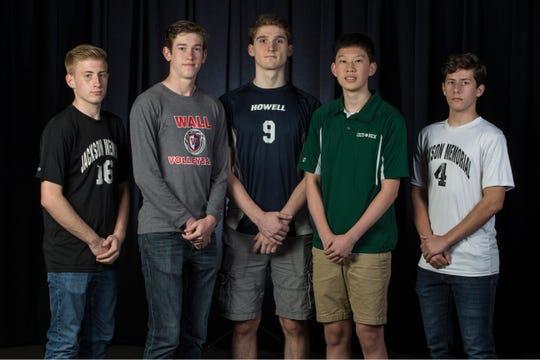 The 2019 All-Shore Boys Volleyball team- Alex Furlong of Jackson Memorial, Caleb Whitehead of Wall, Alek Roschko of Howell, Timothy Wu of Colts Neck, and Konrad Bieniek of Jackson Memorial. Neptune, NJTuesday, May 28, 2019