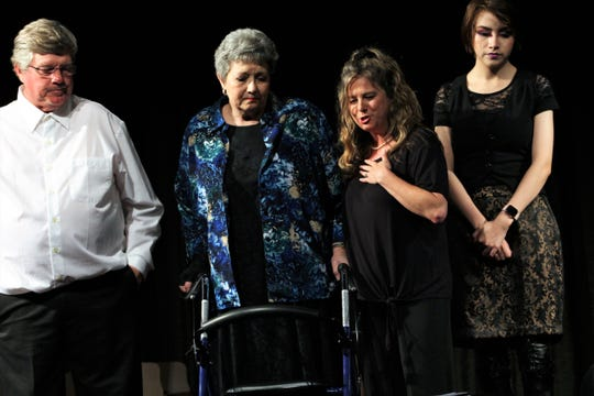 """From left, Ray-Bud (Rodger Brown), Raynelle (Dana Floehr),  Lucille (Tracy Brown) and Delightful (Grace Ramirez) admire the life-like appearance of the """"Dearly Departed"""" Bud Turplin, while also noting he's wearing what looks to be ballet slippers in this rehearsal scene of Abilene Community Theatre's 2018-19 season-closing production that opens Friday. May 27, 2019"""