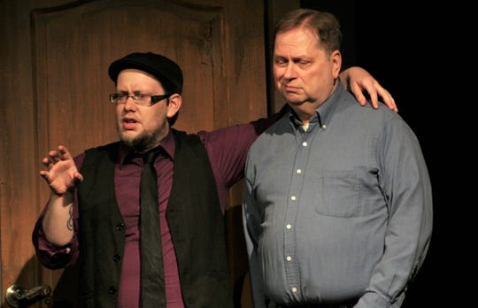 "Royce (Tyler Sparks) gives Junior (Tony Redman) some wise observations, at least from his point of view, in this rehearsal scene from ""Dearly Departed,"" Abilene Community Theatre's season-ending production."