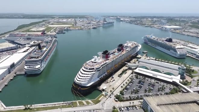 Six major cruise ships were at Port Canaveral on Memorial Day 2019.