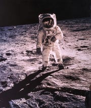 Buzz Aldrin's footprints on the moon may eventually be filled by dust. Neil Armstrong portrait of Buzz Aldrin with the photographer and the Lunar Module reflected in his gold-plated visor, Apollo 11, July 1969