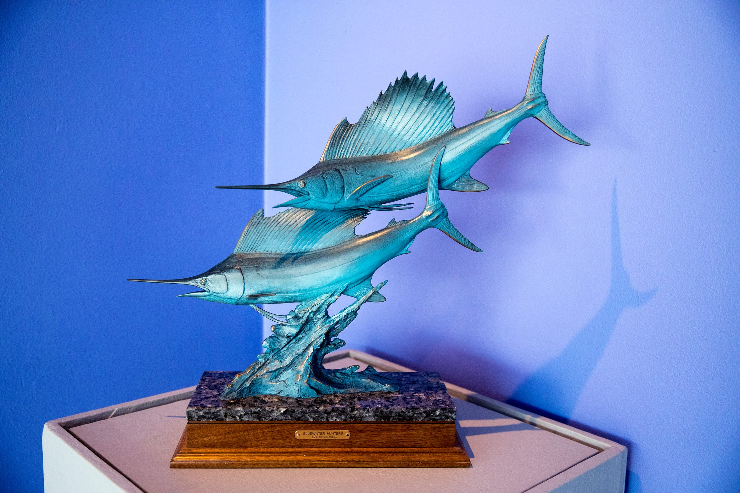 """Kent Ullberg: Celebrating the Wild and Wonderful"" is currently on display at the Art Museum of South Texas. It includes 65 sculptures by Kent Ullberg spanning his career, seven large scale photos of sculptures and five educational technology stations. The exhibit spans five galleries at the museum. ""Blue Water Hunters (Sailfish)""  is one of the sculptures on exhibit."