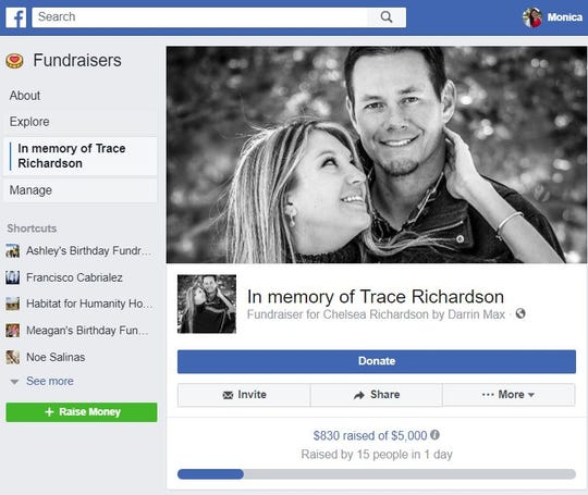 A screenshot shows a Facebook fundraiser for Trace Richardson.