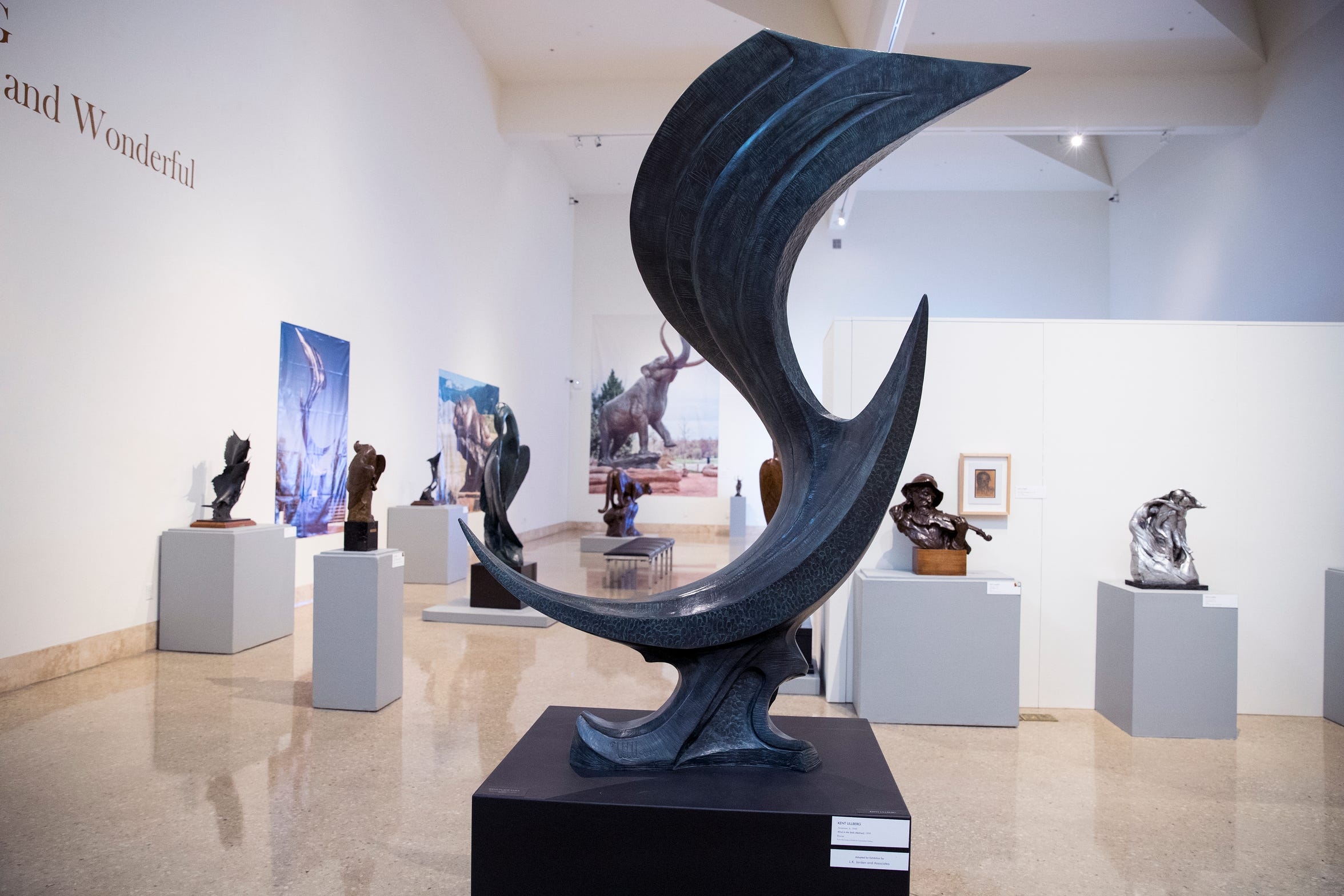 """Kent Ullberg: Celebrating the Wild and Wonderful"" is currently on display at the Art Museum of South Texas. It includes 65 sculptures by Kent Ullberg spanning his career, seven large scale photos of sculptures and five educational technology stations. The exhibit spans five galleries at the museum. ""Wind in the Sails (Abstract)""  is one of the sculptures on exhibit."