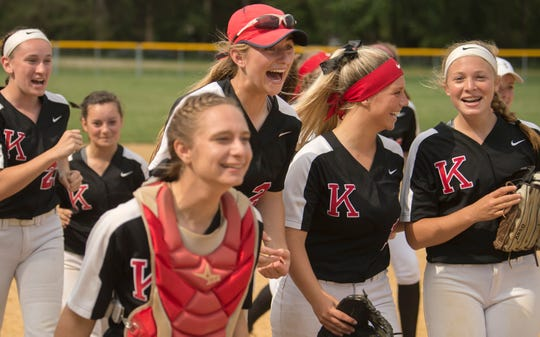 Members of the Kingsway High School softball team celebrate after Kingsway defeated Shawnee, 13-3, in the South Jersey Group 4 softball championship game played at Shawnee High School in Medford on Tuesday, May 28, 2019.