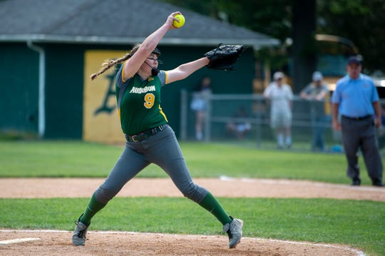 Audubon's McKenzie Yurcaba (9) pitches against Delran Tuesday, May 28, 2019 in Audubon, N.J. Delran won 4-1.