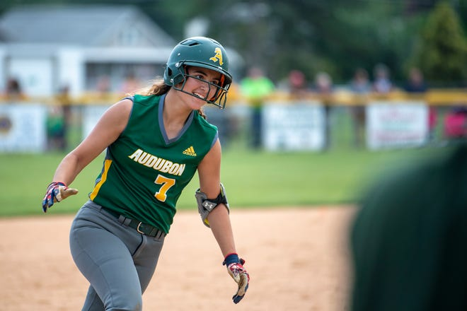 Audubon's Morgan Hearn rounds the bases after hitting a home run against Delran in last year's state tournament. The senior will join teammate McKenzie Yurcaba at Delaware State in the fall.