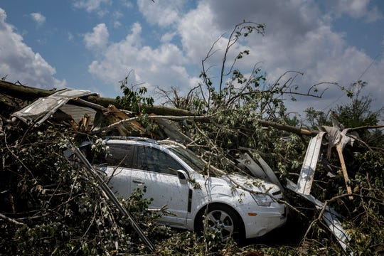 Tornadoes touched down in Brookville, Ohio and destroyed numerous homes and left scattered debris Tuesday, May 28, 2019.