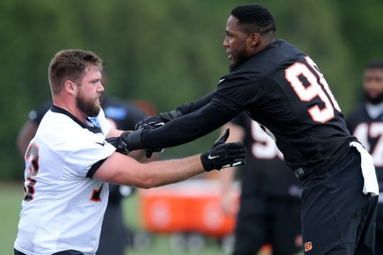 Cincinnati Bengals offensive tackle Jonah Williams (73), left, blocks defensive end Carlos Dunlap (96) during Cincinnati Bengals organized team activities practice, Tuesday, May 28, 2019, at practice fields next to Paul Brown Stadium.