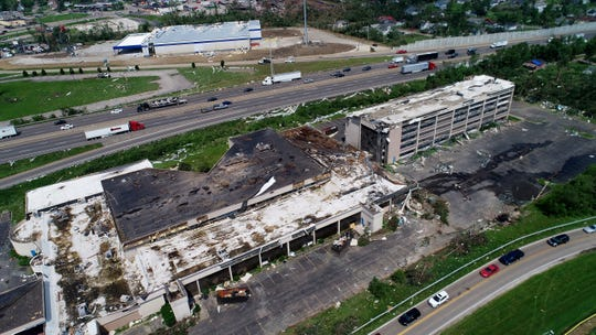 An aerial view of the damage on Wagner Ford Rd, in Dayton, of the National Link, Inc. building where a rapid fire line of tornadoes moved through the midwest including the Dayton area.