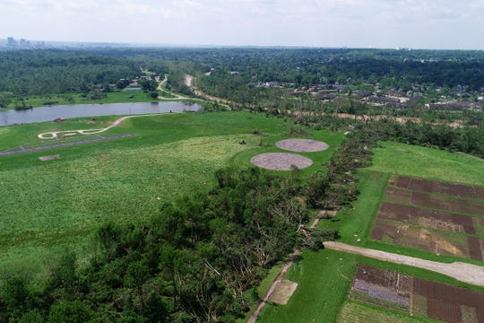 An aerial view of trees down near the Stillwater River, in Dayton, where a rapid fire line of tornadoes moved through the midwest including the Dayton area.
