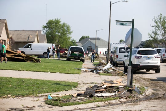 "Fleck Avenue and Jessica Lane in the Wheatland Acres subdivision in Celina, Ohio Tuesday May 28, 2019, after officials said in a statement that the northwest section of the city ""sustained significant damage from a tornado"" that passed through the community Monday night at about 10 p.m. Mayor Jeffrey Hazel said the person killed was an 81-year-old man."