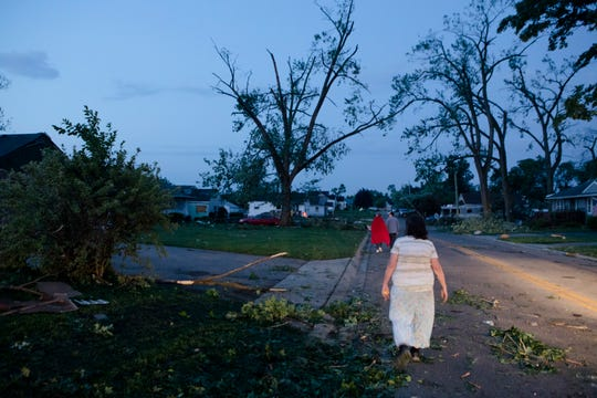 Tornado damage seen on Wagner Ford Road in Dayton early Monday.