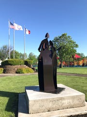 A statue celebrating the life of Mollie Tibbetts, who was found dead last August, is dedicated May 18 at Ahrens Park in Grinnell, Iowa.