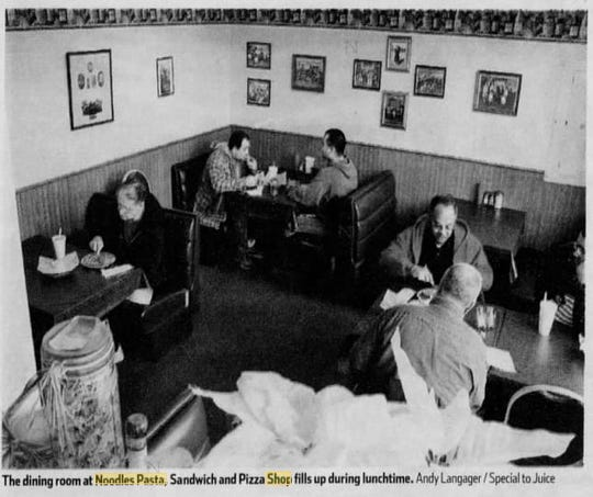 A picture of the dining room at Noodles Pasta & Sandwich Shop from January 2006.
