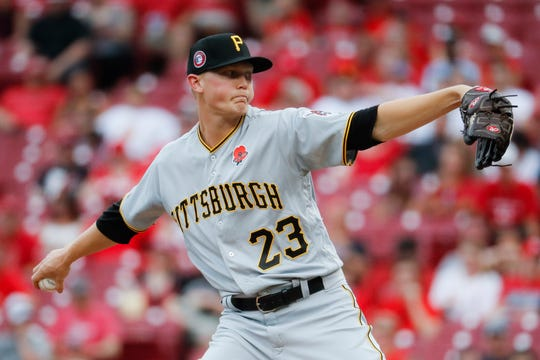 Pittsburgh Pirates starting pitcher Mitch Keller throws in the first inning during the second baseball game of a doubleheader against the Cincinnati Reds, Monday, May 27, 2019, in Cincinnati.