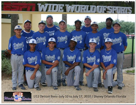 The 2012 Detroit Bees 12-and-under baseball team. On the far right on his knee is J.J. Bleday.