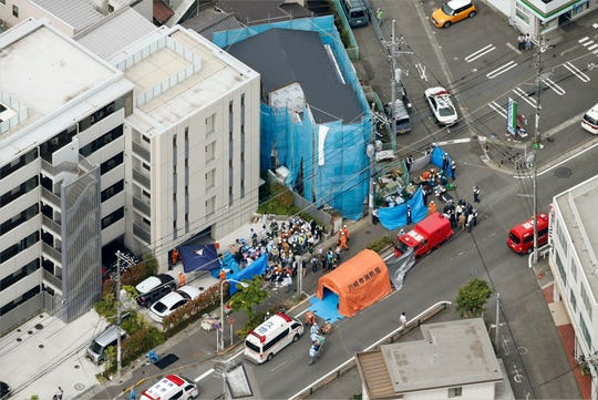This aerial photo shows the scene of an attack in Kawasaki, near Tokyo Tuesday, May 28, 2019.