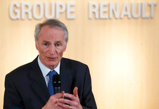 Jean-Dominique Senard speaks after being appointed Renault chairman following a meeting of the board held at Renault headquarters in Boulogne-Billancourt, on Jan.24, 2019. Fiat Chrysler on Monday May 27, 2019 proposed a merger with French carmaker Renault aimed at saving billions of dollars for both companies as the industry pivots to electric and autonomous vehicles.