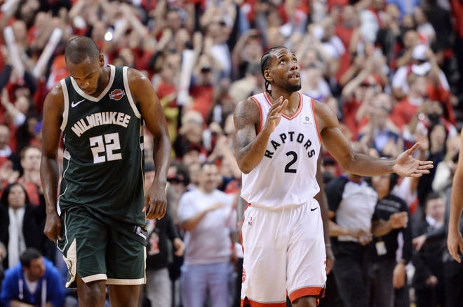 Kawhi Leonard (2) and the Raptors will look to dethrone the two-time defending champion Warriors in the NBA Finals.