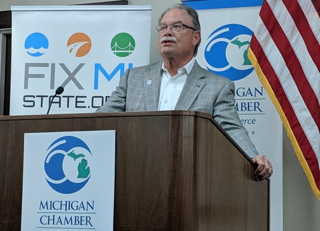 Michigan Chamber of Commerce President and CEO Rich Studlety talks road funding on May 28, 2019.