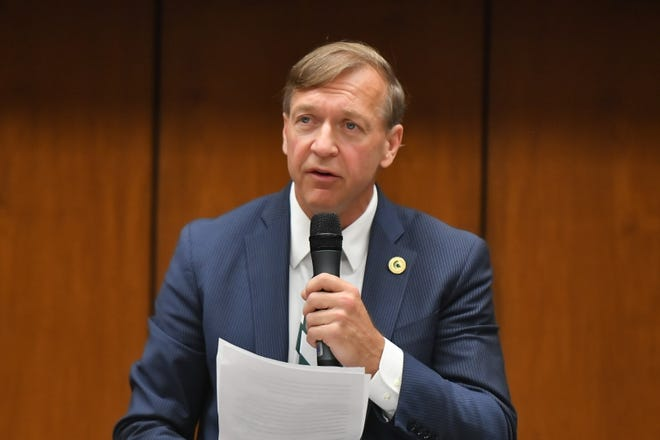 Samuel Stanley Jr.,  named the new president of Michigan State University, speaks at the board of trustees  meeting Tuesday morning.