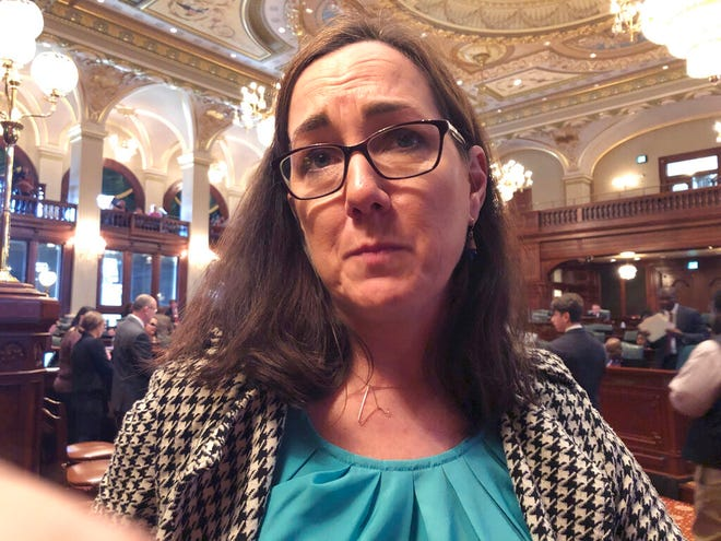 "Rep. Kelly Cassidy, D-Chicago, discusses her legislation to expand abortion protections in this Friday, May 24, 2019 photo. Cassidy says her Reproductive Health Act is necessary to counteract ""a concerted and strategic effort to attack reproductive freedom around the country."""
