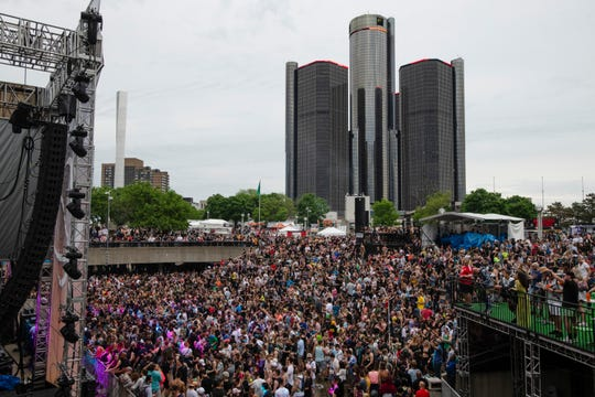 A large crowd of techno music fans dance to the beats of DJ Heidi as she performs on the main stage at Movement 2019, Detroit's annual techno music festival on Memorial Day, Monday, May 27, 2019.