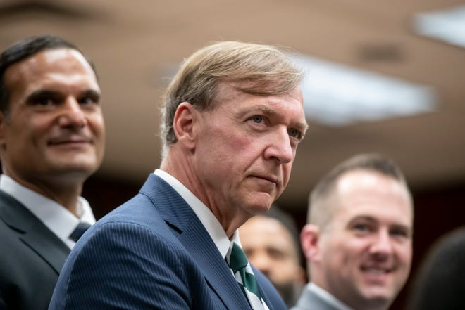 Samuel Stanley Jr. participates in a question and answer session after being named Michigan State University's 21st president, May 28, 2019.