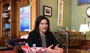 Gov. Gretchen Whitmer challenged GOP House and Senate leaders to support her 45-cent gas tax increase or propose another viable plan during an interview with The Detroit News on Mackinac Island on Tuesday, May 28, 2019.
