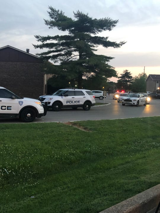 A number of Evansville Police respond to Eastland Apartments on the East Side after reports of a shooting Monday night.