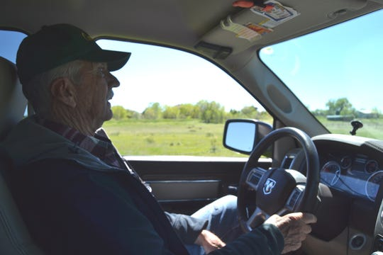 Farmer Dick Brauch drives past the area north of Fort Collins where the city of Thornton has proposed to build a pump station for its water pipeline.