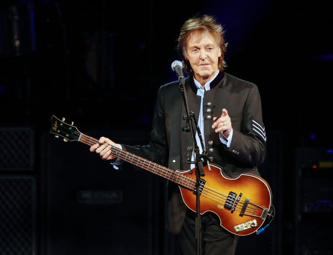Paul McCartney performs in 2017 at Hollywood Casino Amphitheatre in Tinley Park, Illinois.