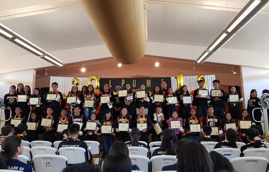"""The """"Pre-AP Jaguars"""" of L. P. Untalan were recognized in a special ceremony at the Barrigada middle school Tuesday, May 28, 2019. Through the pilot program, 30 of the students were able to take Pre-AP courses from 6th to 8th grade."""