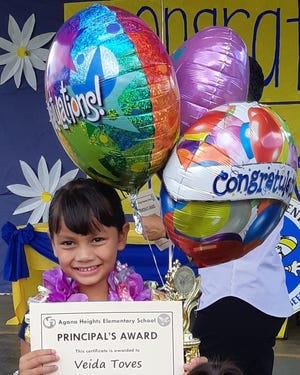 Veida Maria Toves, Kindergarten, received Principal's Award for Fourth Quarter at Agana Heights Elementary School on May 23.