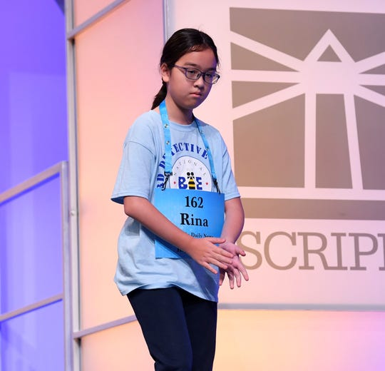 Rina Olsen spelled the word 'newel' correctly during the 2019 Scripps National Spelling Bee at Gaylord National Resort and Convention Center.