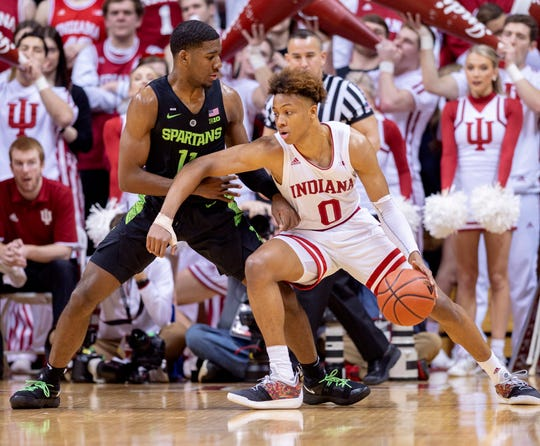 Romeo Langford dribbles against Michigan State.