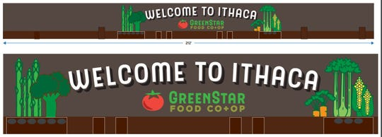 Greenstar is proposing a Welcome to Ithaca sign to help break up the new building's facade.