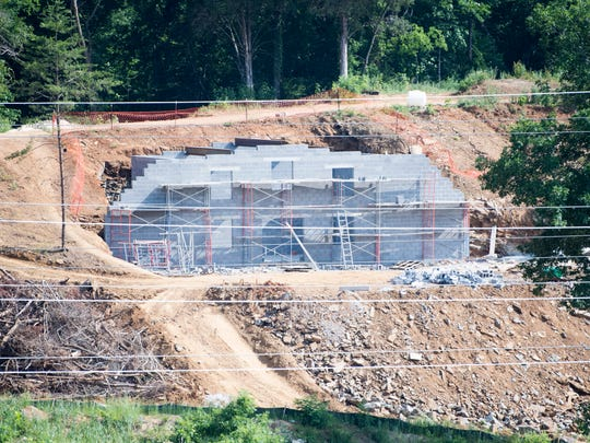 Construction continues on a building for the Ancient Lore Village in South Knoxville on Tuesday, May 28, 2019.