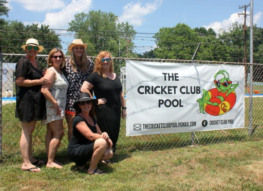 The CC Squad, the ladies who oversee operation of the Cricket Club Pool, include (from left) Tiffany Long, Kelly Creasey, Jessie Hatter and Shannon Smith. Kneeling is Krista Witz.
