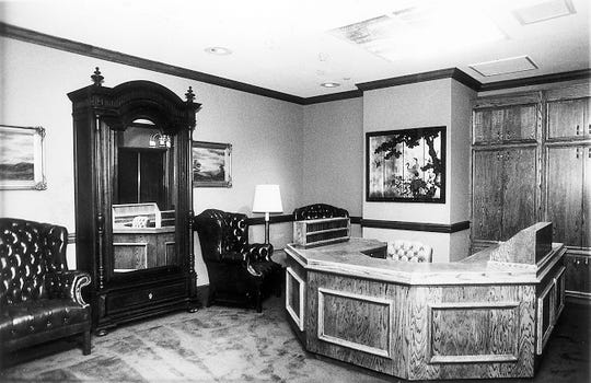 Photograph of the 15th floor reception of the Andrew Johnson Building in 1982.